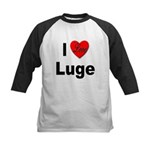 I Love Luge Kids Baseball Jersey