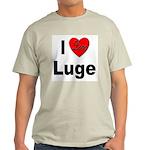I Love Luge (Front) Ash Grey T-Shirt