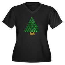 Dog's Christmas Tree Women's Plus Size V-Neck Dark