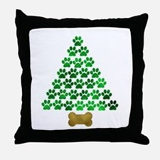 Dog's Christmas Tree Throw Pillow