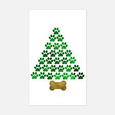 Dog's Christmas Tree Sticker (Rectangle)