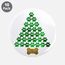 "Dog's Christmas Tree 3.5"" Button (10 pack)"