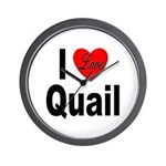I Love Quail Wall Clock