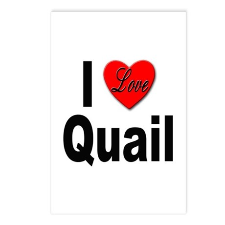 I Love Quail Postcards (Package of 8)