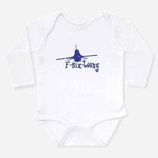 F-six-teeny -blue Long Sleeve Infant Bodysuit