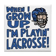Grow Up Lacrosse Blue Tile Coaster