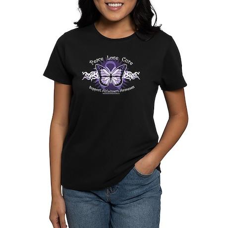 Alzheimer's Tribal Butterfly Women's Dark T-Shirt