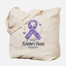 Alzheimer's Ribbon Of Butterf Tote Bag