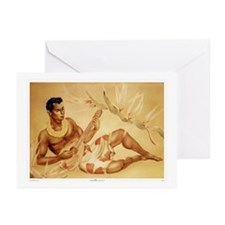 Male Hawaiian Ukulele Player Greeting Cards (Packa