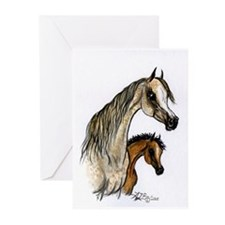 Flea Bitten Arabian Mare and Foal Greeting Cards (