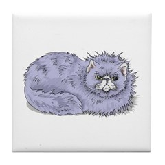 Lilac Persian Cat Tile Coaster