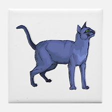 Russian Blue Cat Portrait Tile Coaster