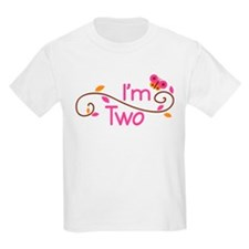 Cute Girls I'm Two Birthday T-Shirt
