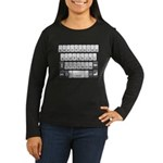 Qwerty Keyboard Women's Long Sleeve Dark T-Shirt