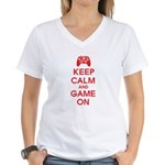Keep Calm And Game On Women's V-Neck T-Shirt