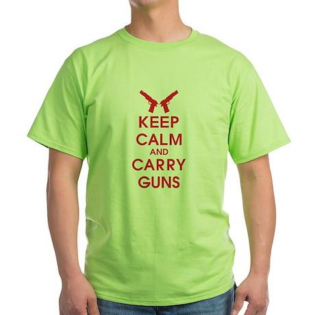 Keep Calm And Carry Guns Green T-Shirt
