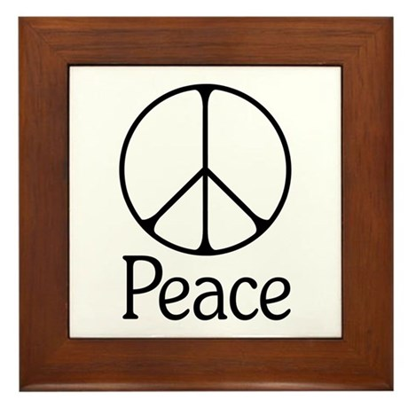 Elegant 'Peace' Sign Framed Tile