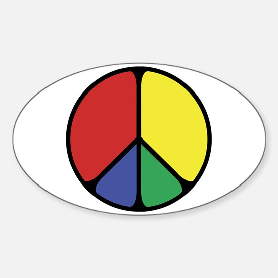 Elegant Peace Color Sticker (Oval)