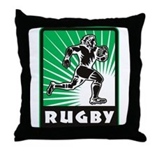 rugby player running Throw Pillow
