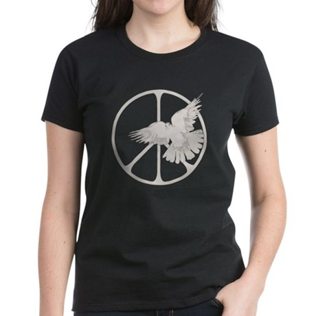 Peace Sign & Dove Women's Dark T-Shirt