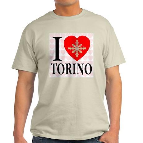 I Love Torino Golden Snowflak Ash Grey T-Shirt