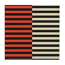 Red & White Strip Tile Coaster