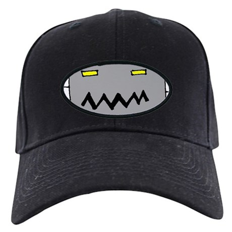 Big Grey Robot Head Black Cap