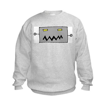 Big Grey Robot Head Kids Sweatshirt