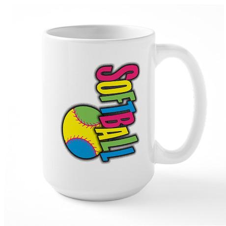 Girls Softball Large Mug