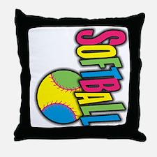 Girls Softball Throw Pillow