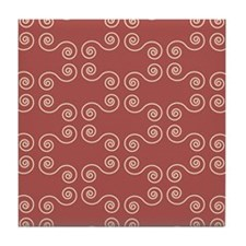 Pink Curves Pattern Tile Coaster