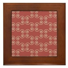 Pink Curves Pattern Framed Tile