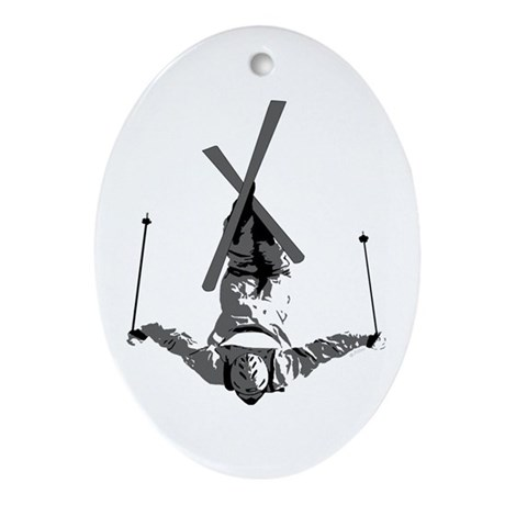 Freestyle Skiing Oval Ornament