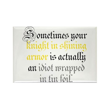 Knight in Tin Foil Rectangle Magnet (10 pack)