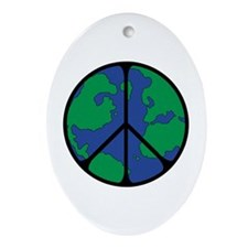 Global Peace Sign Ornament (Oval)