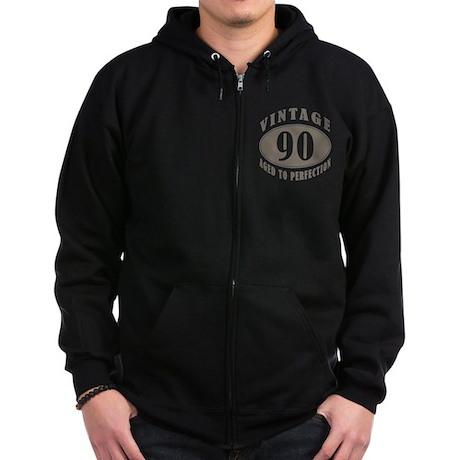 90th Vintage Brown Zip Hoodie (dark)