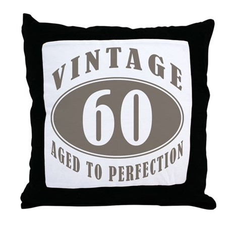 60th Vintage Brown Throw Pillow