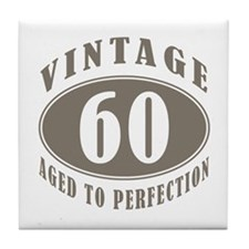 60th Vintage Brown Tile Coaster