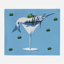 Marlin Martini in blue Throw Blanket