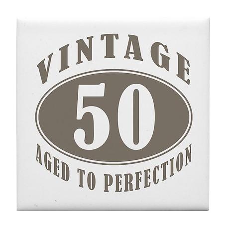 50th Vintage Brown Tile Coaster