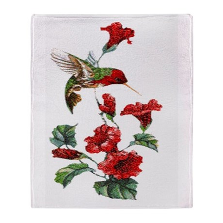 Red Hummingbird Throw Blanket