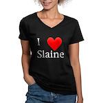 Support Slaine Women's V-Neck Dark T-Shirt