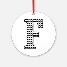 Black and White Chevron Letter F Monogram Round Or