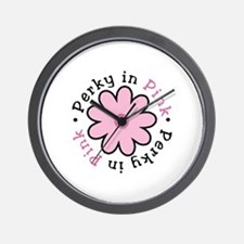 Perky in Pink - round Wall Clock