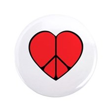 "Peace Sign Heart 3.5"" Button"