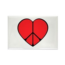 Peace Sign Heart Rectangle Magnet