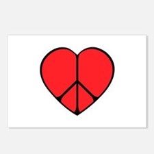 Peace Sign Heart Postcards (Package of 8)