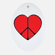Peace Sign Heart Ornament (Oval)