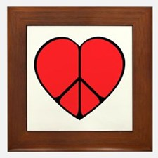 Peace Sign Heart Framed Tile