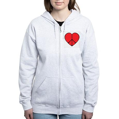 Peace Sign Heart Women's Zip Hoodie